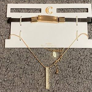 Charming Charlie Black Gold Choker Necklace New
